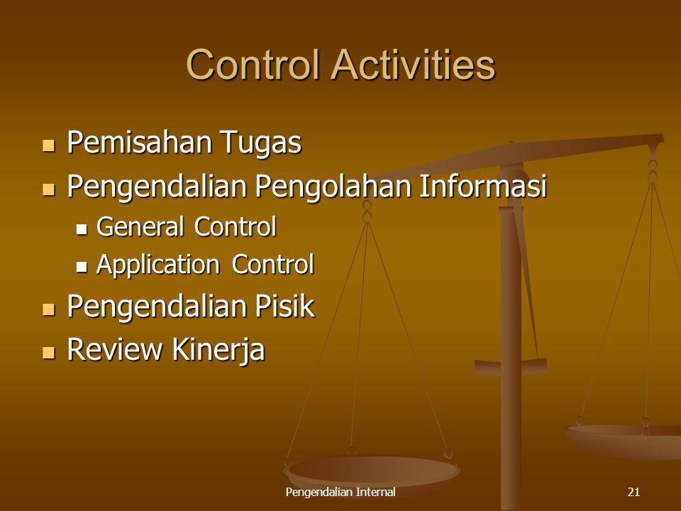 Pengendalian Internal21 Control Activities Pemisahan Tugas Pemisahan Tugas Pengendalian Pengolahan Informasi Pengendalian Pengolahan Informasi General