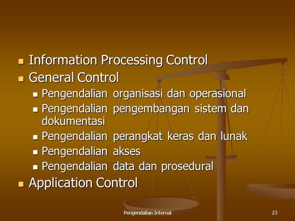 Pengendalian Internal23 Information Processing Control Information Processing Control General Control General Control Pengendalian organisasi dan oper