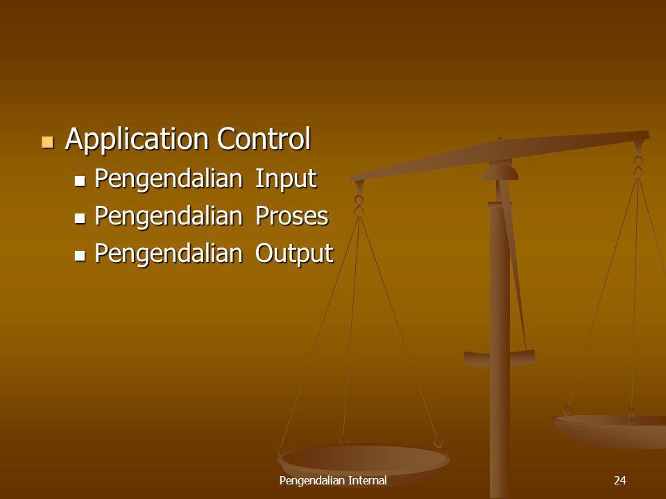 Pengendalian Internal24 Application Control Application Control Pengendalian Input Pengendalian Input Pengendalian Proses Pengendalian Proses Pengenda