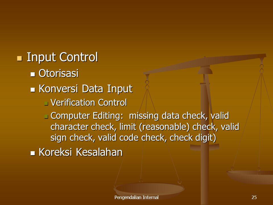 Pengendalian Internal25 Input Control Input Control Otorisasi Otorisasi Konversi Data Input Konversi Data Input Verification Control Verification Cont
