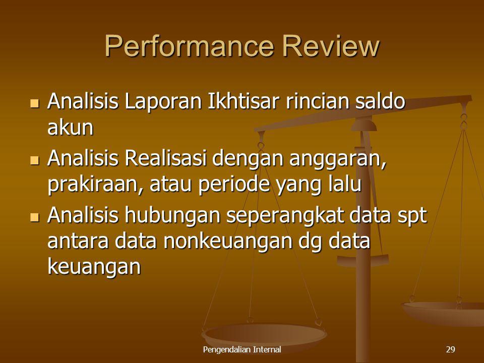 Pengendalian Internal29 Performance Review Analisis Laporan Ikhtisar rincian saldo akun Analisis Laporan Ikhtisar rincian saldo akun Analisis Realisas