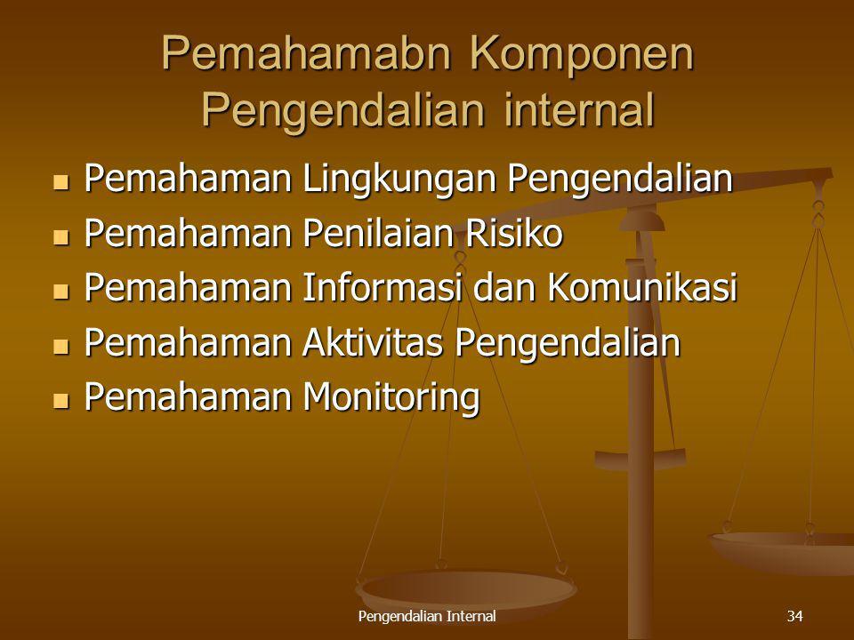 Pengendalian Internal34 Pemahamabn Komponen Pengendalian internal Pemahaman Lingkungan Pengendalian Pemahaman Lingkungan Pengendalian Pemahaman Penila