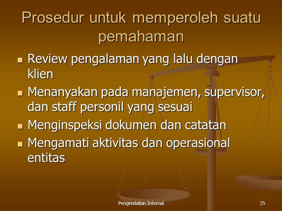 Pengendalian Internal35 Prosedur untuk memperoleh suatu pemahaman Review pengalaman yang lalu dengan klien Review pengalaman yang lalu dengan klien Me