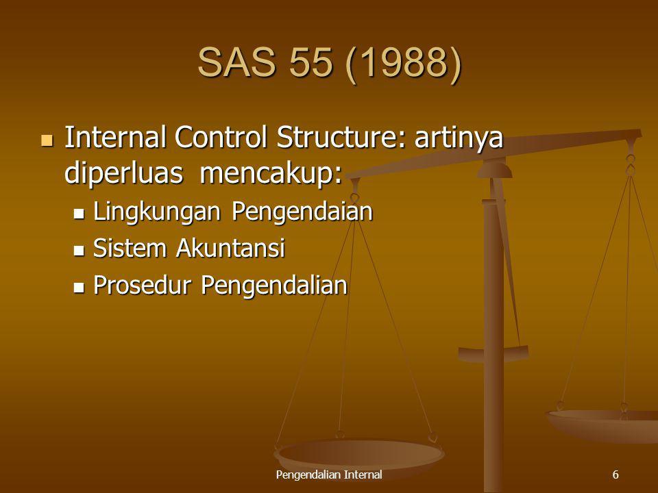 Pengendalian Internal6 SAS 55 (1988) Internal Control Structure: artinya diperluas mencakup: Internal Control Structure: artinya diperluas mencakup: L