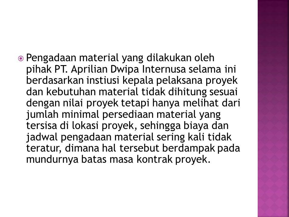  Pengadaan material yang dilakukan oleh pihak PT. Aprilian Dwipa Internusa selama ini berdasarkan instiusi kepala pelaksana proyek dan kebutuhan mate
