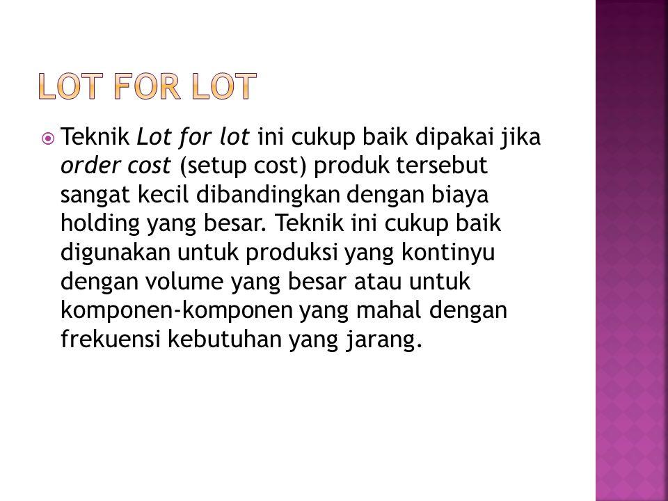  Teknik Lot for lot ini cukup baik dipakai jika order cost (setup cost) produk tersebut sangat kecil dibandingkan dengan biaya holding yang besar. Te