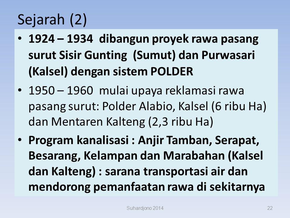 Sejarah (1) Sejak ratusan tahun, petani Bugis (Sulsel) dan Banjar (Kalsel) telah memanfaatkan lahan rawa Dengan cara tradisional, hamparan terbatas, t