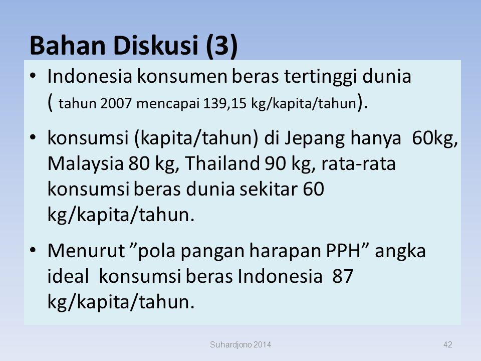 Bahan Diskusi (2) lahan pertanian Indonesia makin berkurang alih fungsi lahan sawah beririgasi teknis 80 ribu hektar per tahun. kemampuan cetak sawah