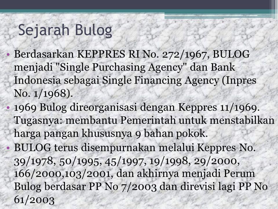 Sejarah Bulog Berdasarkan KEPPRES RI No.