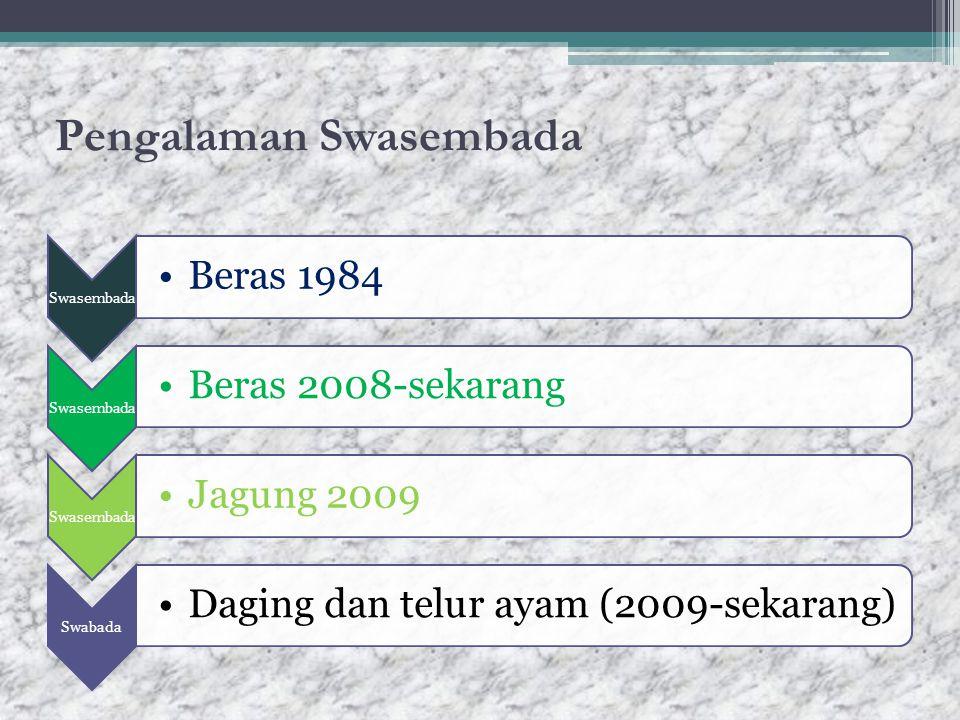 Pengalaman Swasembada Swasembada Beras 1984 Swasembada Beras 2008-sekarang Swasembada Jagung 2009 Swabada Daging dan telur ayam (2009-sekarang)