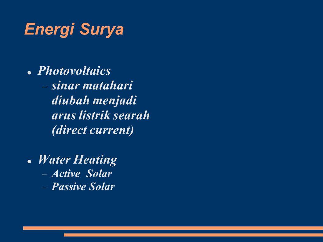 Energi Surya Photovoltaics  sinar matahari diubah menjadi arus listrik searah (direct current) Water Heating  Active Solar  Passive Solar