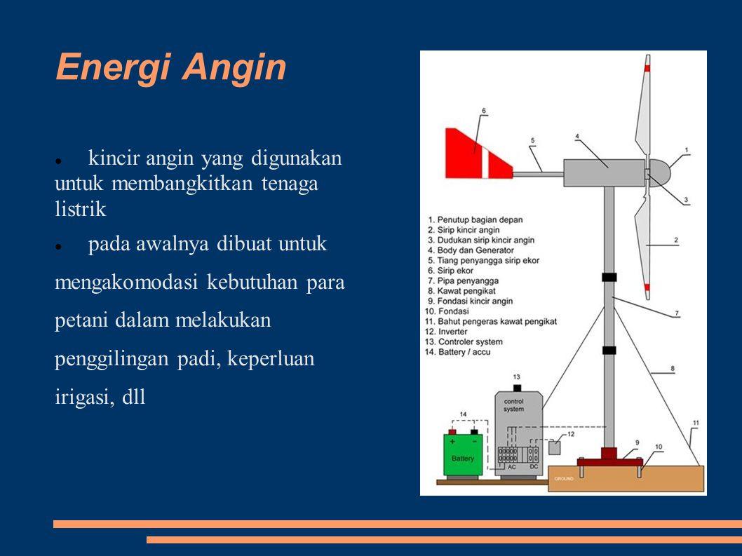 Energi Angin kincir angin yang digunakan untuk membangkitkan tenaga listrik pada awalnya dibuat untuk mengakomodasi kebutuhan para petani dalam melakukan penggilingan padi, keperluan irigasi, dll