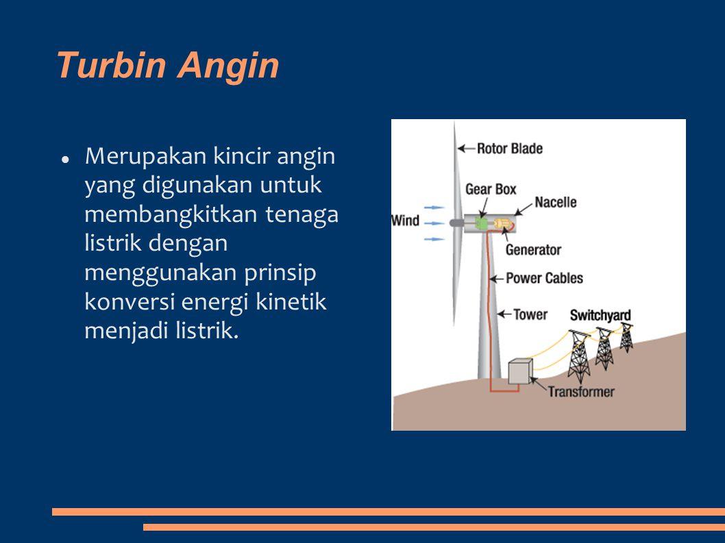 Turbin Angin Merupakan kincir angin yang digunakan untuk membangkitkan tenaga listrik dengan menggunakan prinsip konversi energi kinetik menjadi listr