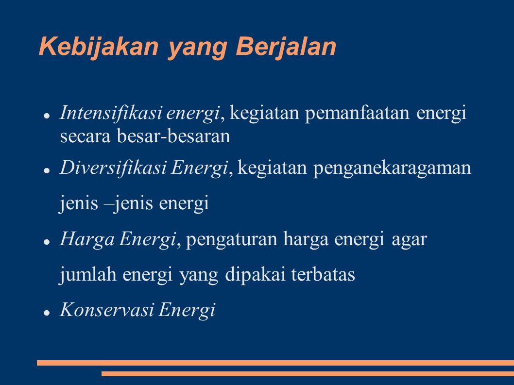 Kebijakan yang Berjalan Intensifikasi energi, kegiatan pemanfaatan energi secara besar-besaran Diversifikasi Energi, kegiatan penganekaragaman jenis –jenis energi Harga Energi, pengaturan harga energi agar jumlah energi yang dipakai terbatas Konservasi Energi