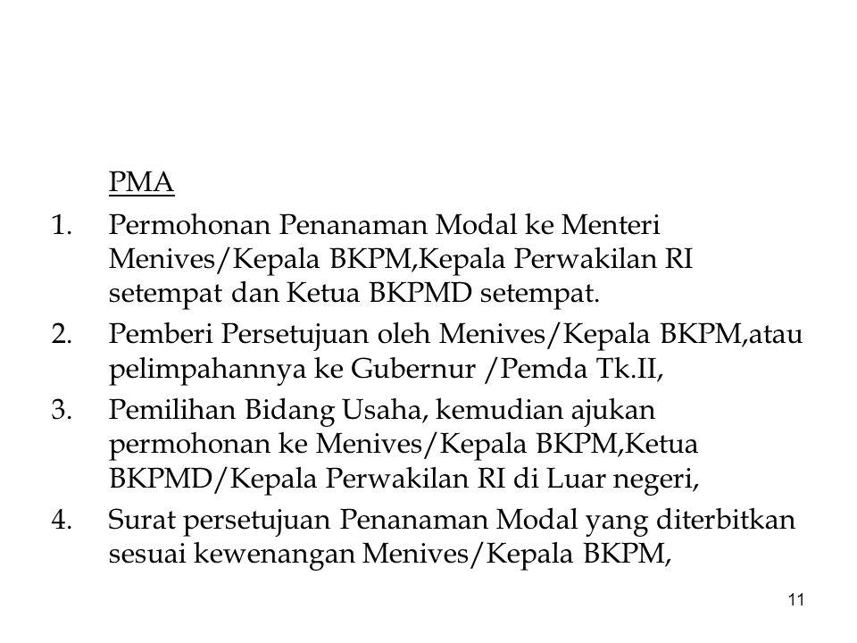 11 PMA 1.Permohonan Penanaman Modal ke Menteri Menives/Kepala BKPM,Kepala Perwakilan RI setempat dan Ketua BKPMD setempat. 2.Pemberi Persetujuan oleh