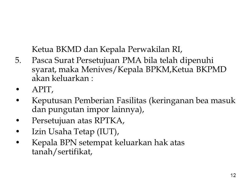 12 Ketua BKMD dan Kepala Perwakilan RI, 5.Pasca Surat Persetujuan PMA bila telah dipenuhi syarat, maka Menives/Kepala BPKM,Ketua BKPMD akan keluarkan