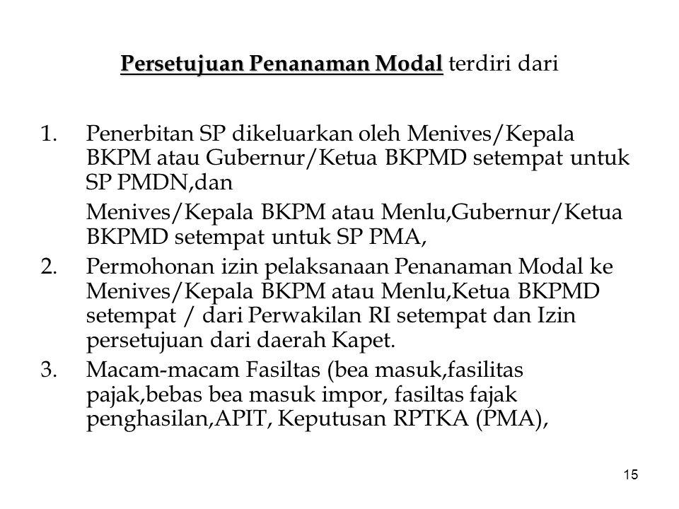 15 Persetujuan Penanaman Modal Persetujuan Penanaman Modal terdiri dari 1.Penerbitan SP dikeluarkan oleh Menives/Kepala BKPM atau Gubernur/Ketua BKPMD