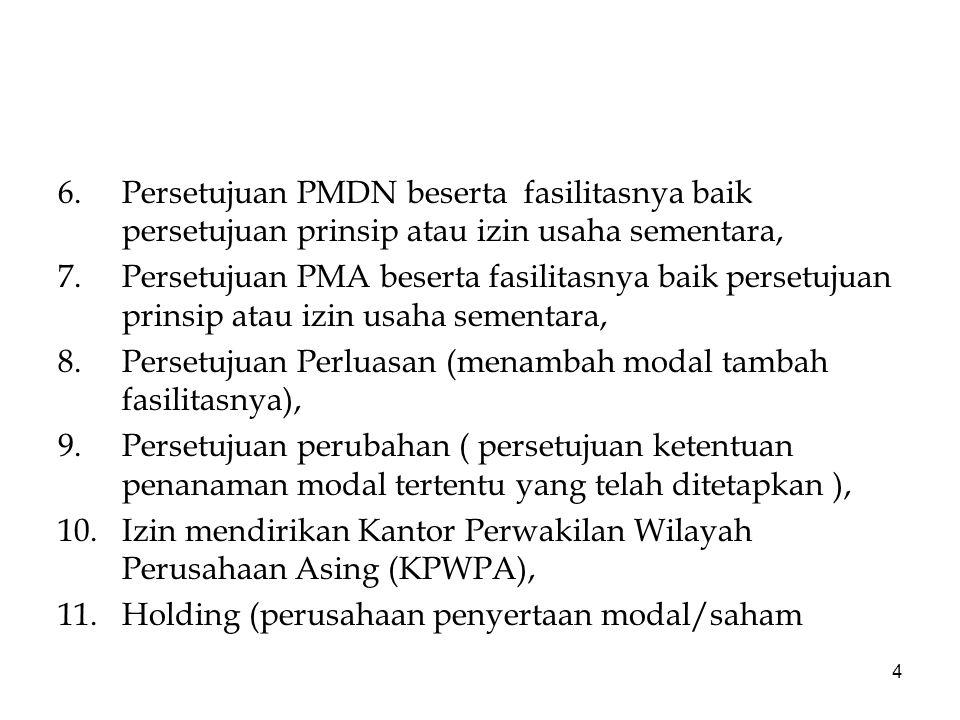 5 yang dibentuk sesuai dengan ketentuan, 12.Izin Pelaksanaan Penanaman Modal (izin tingkat pusat dan daerah), 13.Persetujuan Fasilitas Penanaman Modal/bea masuk/fiskal.