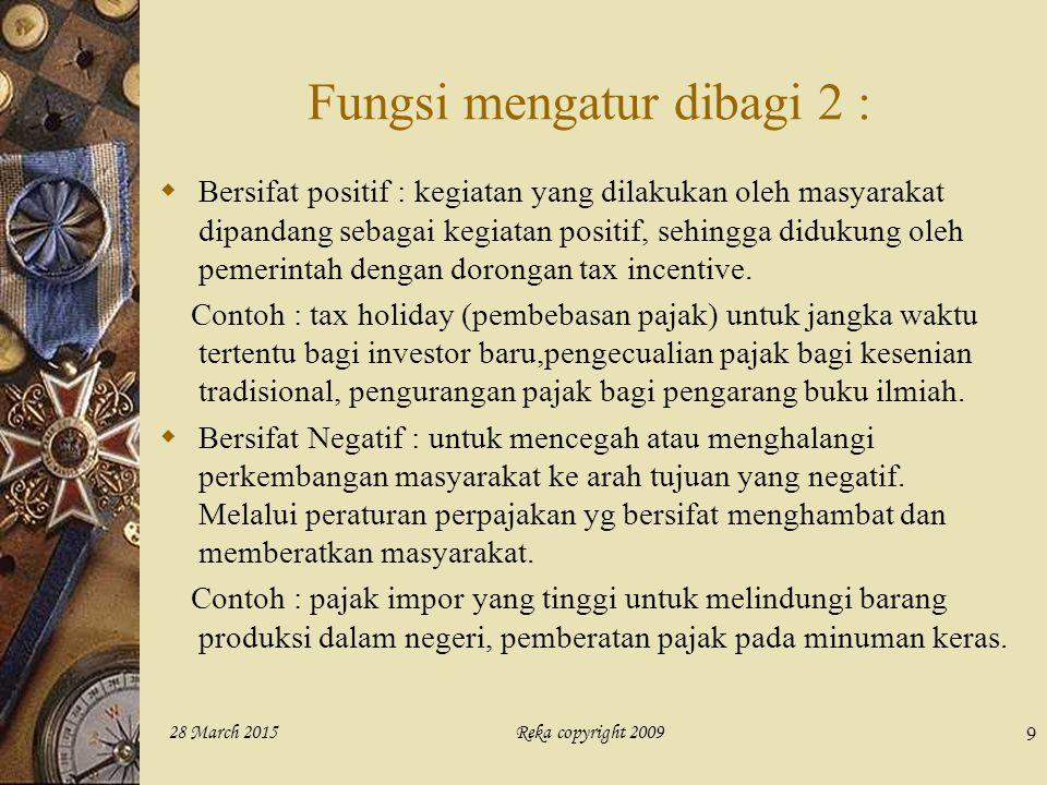 Reka copyright 200928 March 2015 9 Fungsi mengatur dibagi 2 :  Bersifat positif : kegiatan yang dilakukan oleh masyarakat dipandang sebagai kegiatan