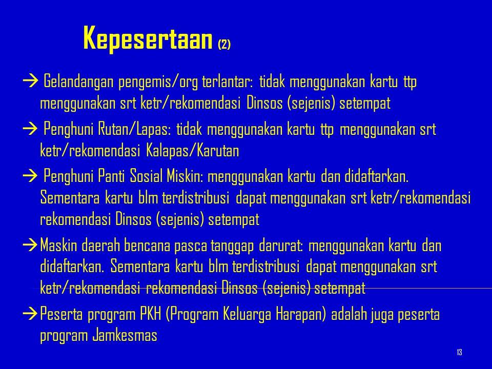  Gelandangan pengemis/org terlantar: tidak menggunakan kartu ttp menggunakan srt ketr/rekomendasi Dinsos (sejenis) setempat  Penghuni Rutan/Lapas: t