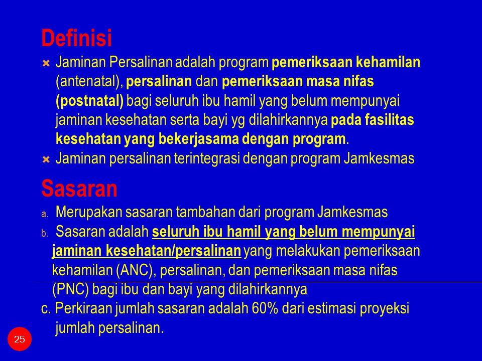 Definisi  Jaminan Persalinan adalah program pemeriksaan kehamilan (antenatal), persalinan dan pemeriksaan masa nifas (postnatal) bagi seluruh ibu ham