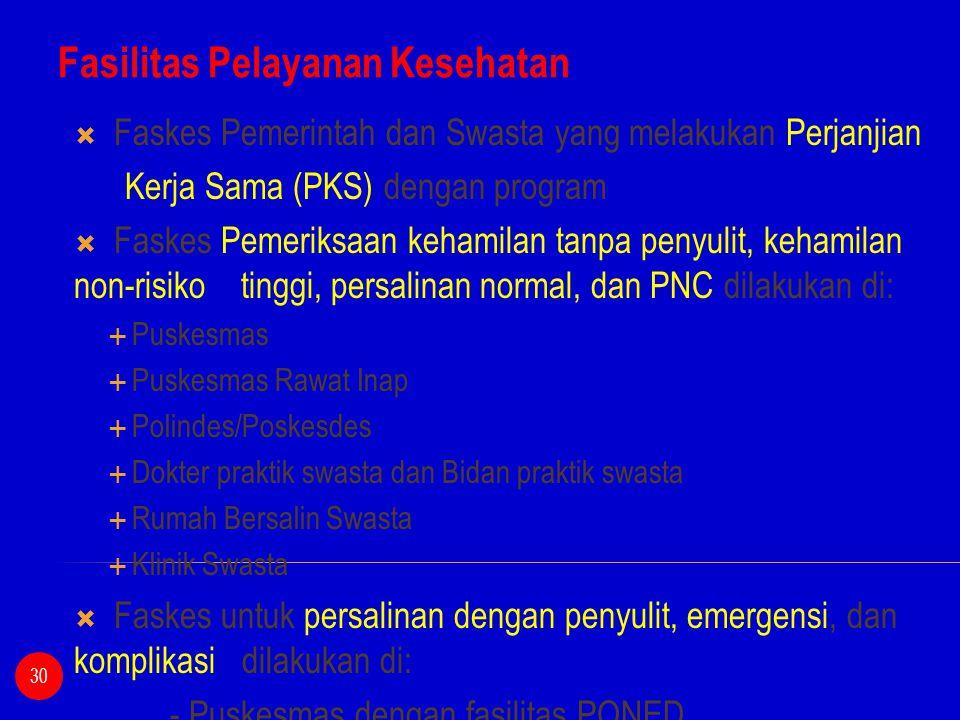 Fasilitas Pelayanan Kesehatan  Faskes Pemerintah dan Swasta yang melakukan Perjanjian Kerja Sama (PKS) dengan program  Faskes Pemeriksaan kehamilan