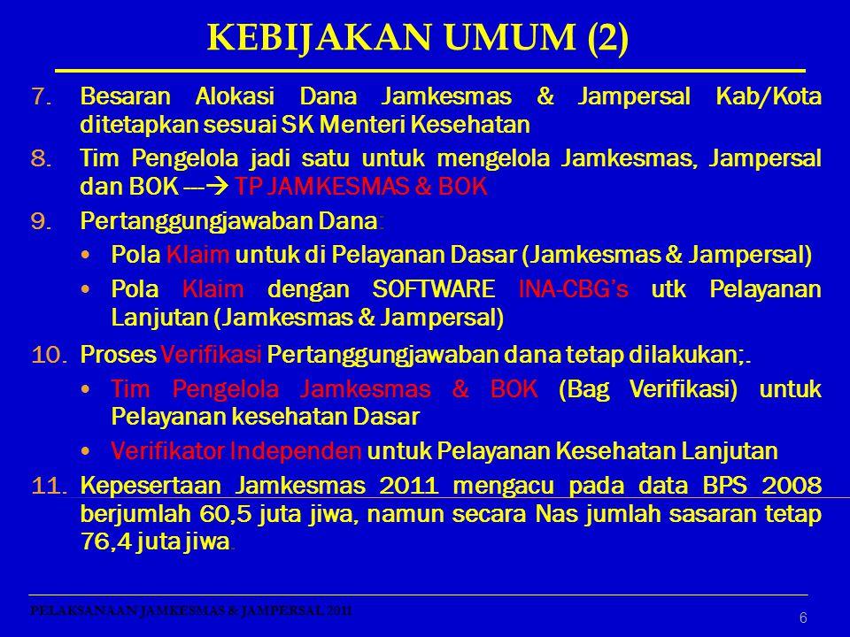 6 7.Besaran Alokasi Dana Jamkesmas & Jampersal Kab/Kota ditetapkan sesuai SK Menteri Kesehatan 8.Tim Pengelola jadi satu untuk mengelola Jamkesmas, Ja