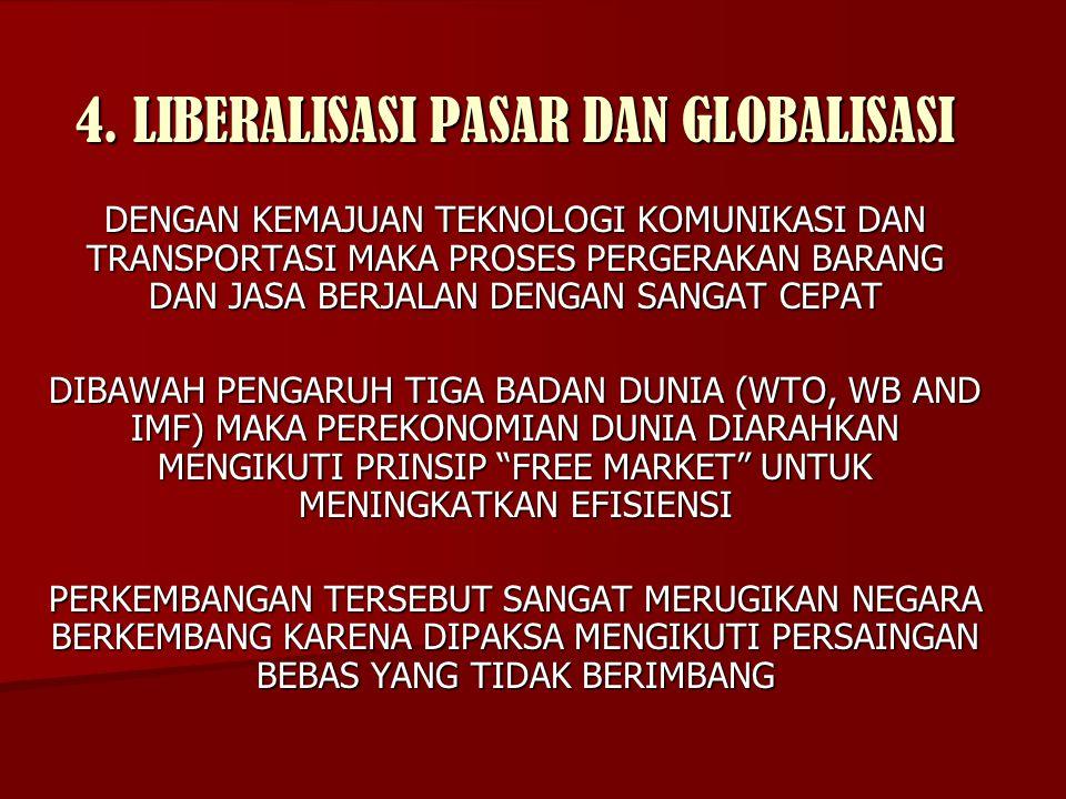 4. LIBERALISASI PASAR DAN GLOBALISASI DENGAN KEMAJUAN TEKNOLOGI KOMUNIKASI DAN TRANSPORTASI MAKA PROSES PERGERAKAN BARANG DAN JASA BERJALAN DENGAN SAN