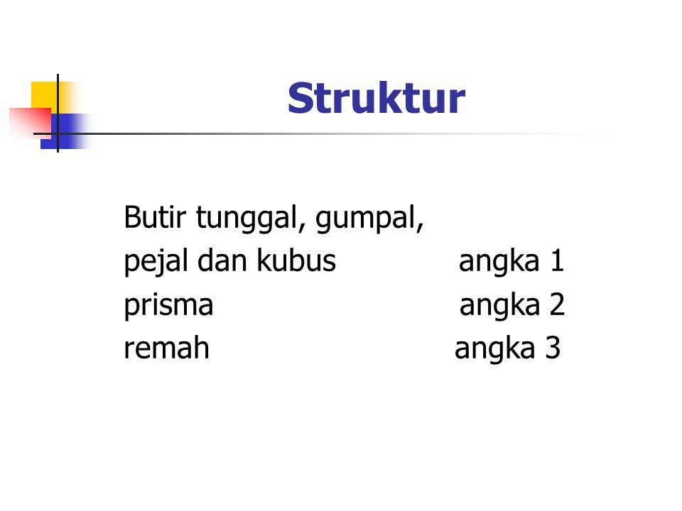 Struktur Butir tunggal, gumpal, pejal dan kubus angka 1 prisma angka 2 remah angka 3