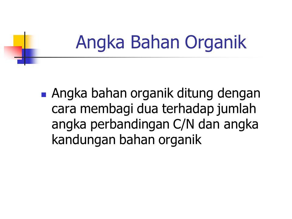 Angka Bahan Organik Angka bahan organik ditung dengan cara membagi dua terhadap jumlah angka perbandingan C/N dan angka kandungan bahan organik