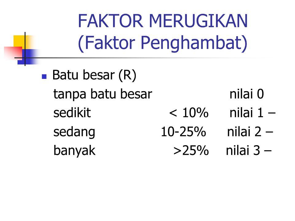 FAKTOR MERUGIKAN (Faktor Penghambat) Batu besar (R) tanpa batu besar nilai 0 sedikit < 10% nilai 1 – sedang 10-25% nilai 2 – banyak >25% nilai 3 –