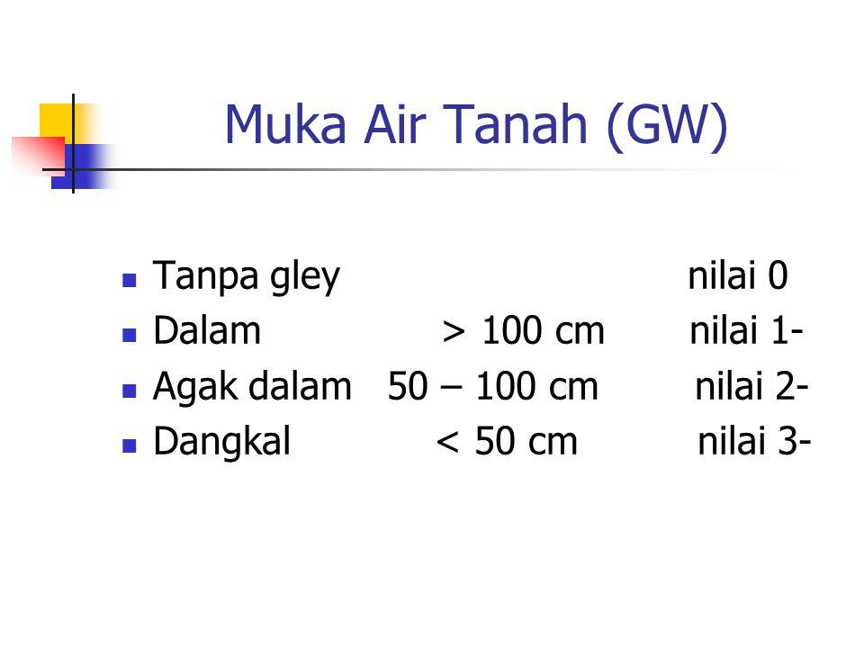 Muka Air Tanah (GW) Tanpa gley nilai 0 Dalam > 100 cm nilai 1- Agak dalam 50 – 100 cm nilai 2- Dangkal < 50 cm nilai 3-