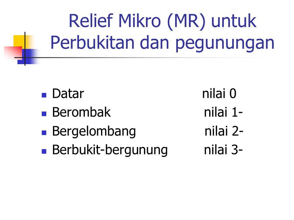 Relief Mikro (MR) untuk Perbukitan dan pegunungan Datar nilai 0 Berombak nilai 1- Bergelombang nilai 2- Berbukit-bergunung nilai 3-