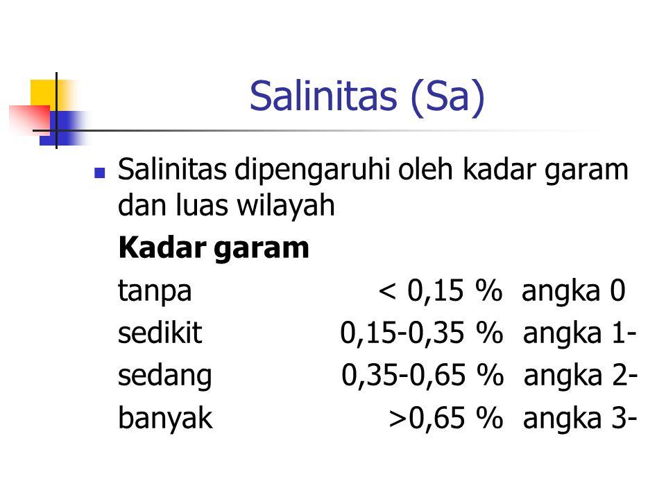 Salinitas (Sa) Salinitas dipengaruhi oleh kadar garam dan luas wilayah Kadar garam tanpa < 0,15 % angka 0 sedikit 0,15-0,35 % angka 1- sedang 0,35-0,65 % angka 2- banyak >0,65 % angka 3-