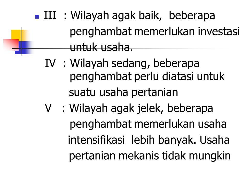 III : Wilayah agak baik, beberapa penghambat memerlukan investasi untuk usaha.