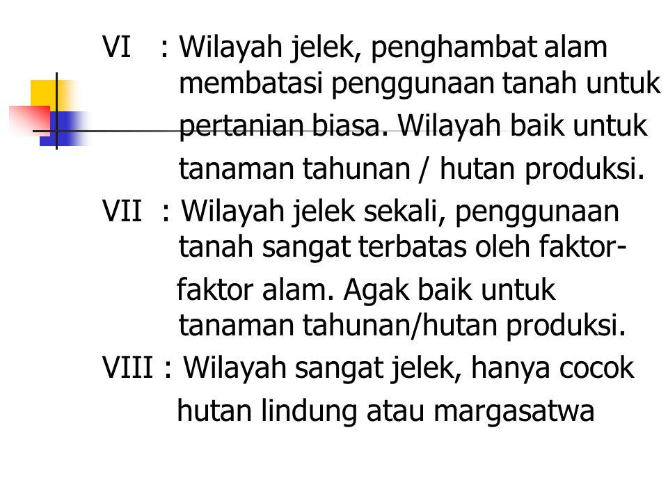 VI : Wilayah jelek, penghambat alam membatasi penggunaan tanah untuk pertanian biasa.