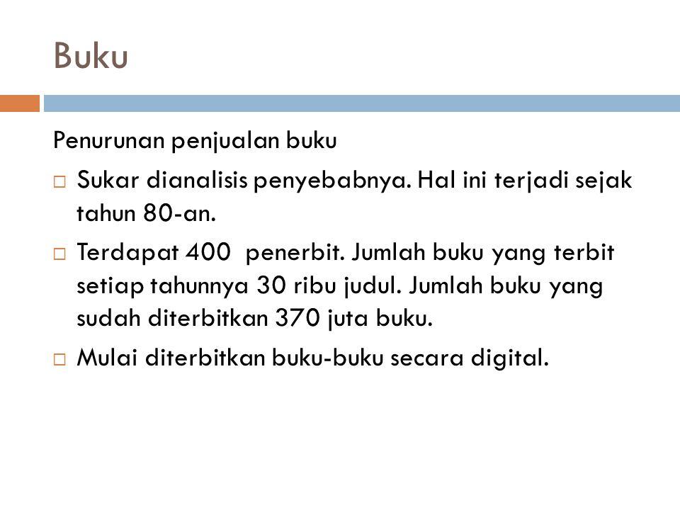Buku Penurunan penjualan buku  Sukar dianalisis penyebabnya.