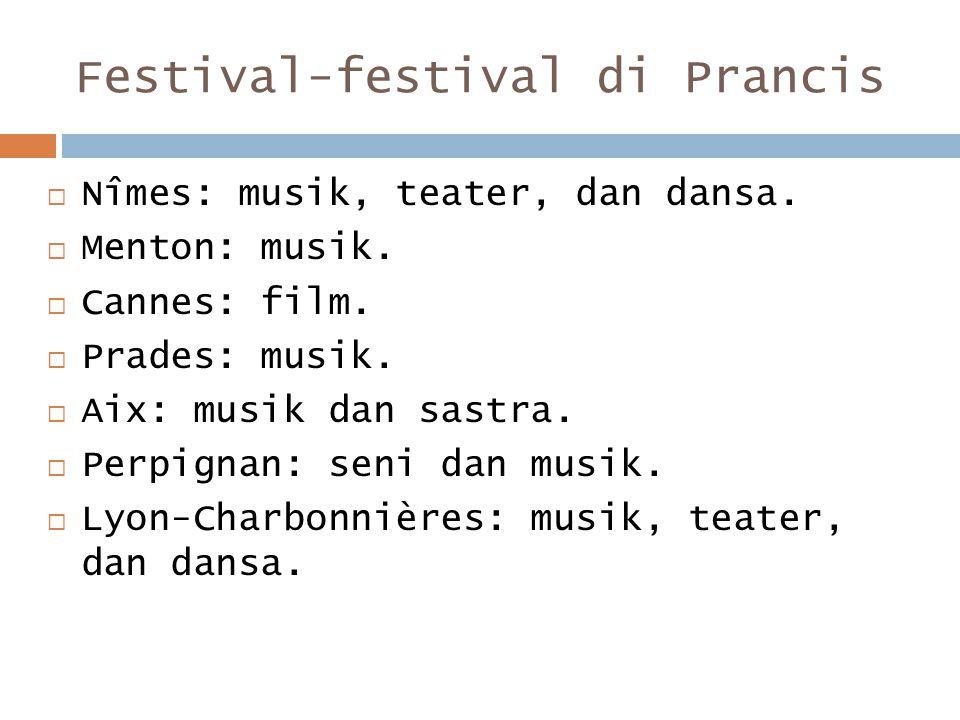 Festival-festival di Prancis  Nîmes: musik, teater, dan dansa.