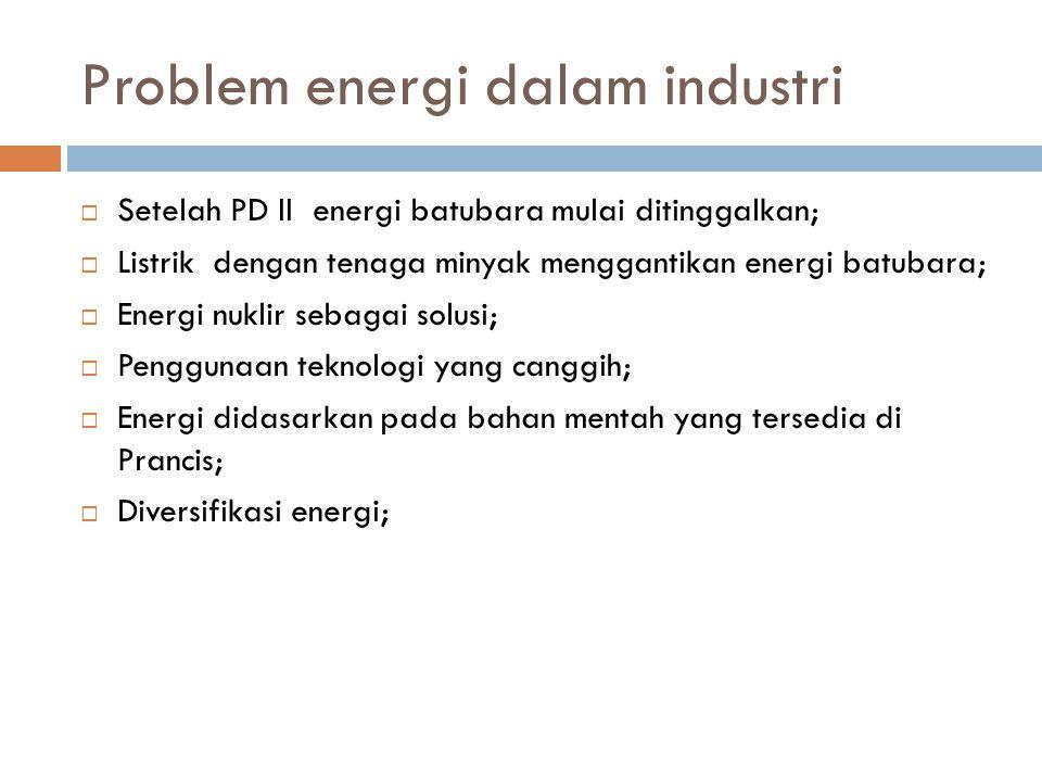 Problem energi dalam industri  Setelah PD II energi batubara mulai ditinggalkan;  Listrik dengan tenaga minyak menggantikan energi batubara;  Energi nuklir sebagai solusi;  Penggunaan teknologi yang canggih;  Energi didasarkan pada bahan mentah yang tersedia di Prancis;  Diversifikasi energi;