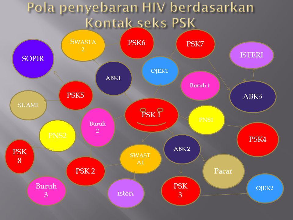 Pola penyebaran HIV berdasarkan mobilitas PSK antar propinsi MAKASSA R / BALI PAPUA SULUT JATIM,JABAR,JKT, JATENG SUMATER A MALUKU KALIMANTA N