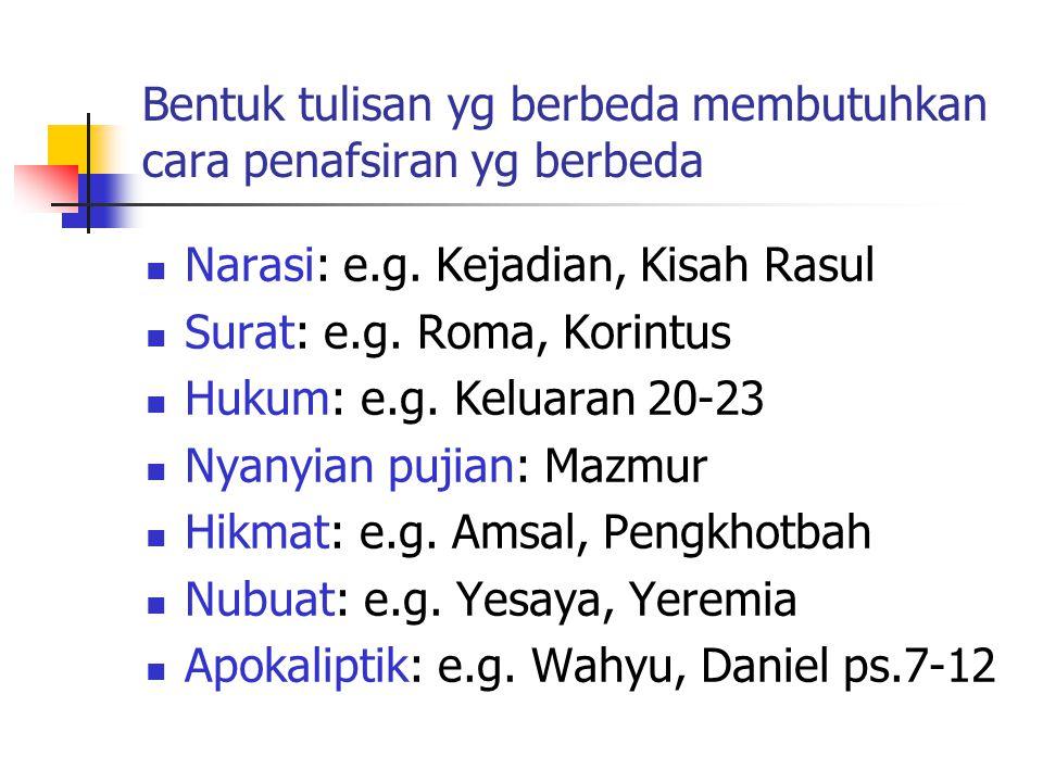Bentuk tulisan yg berbeda membutuhkan cara penafsiran yg berbeda Narasi: e.g. Kejadian, Kisah Rasul Surat: e.g. Roma, Korintus Hukum: e.g. Keluaran 20