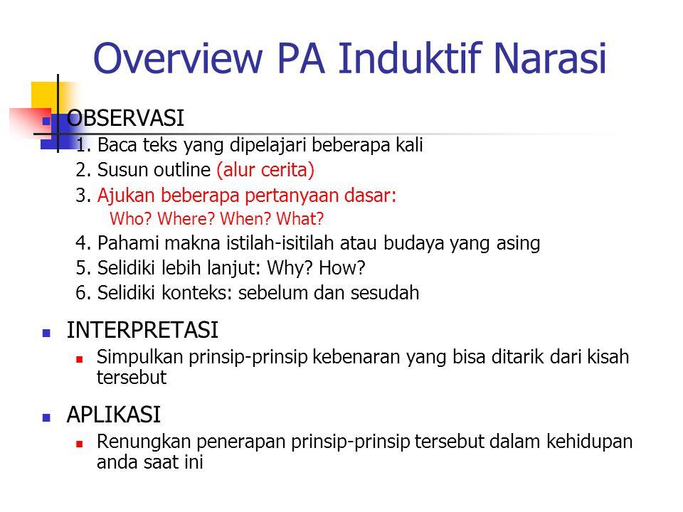 Overview PA Induktif Narasi OBSERVASI 1. Baca teks yang dipelajari beberapa kali 2. Susun outline (alur cerita) 3. Ajukan beberapa pertanyaan dasar: W