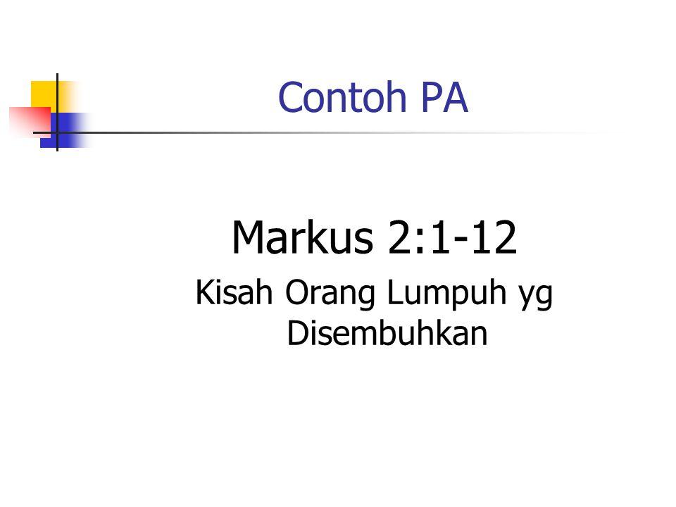 Contoh PA Markus 2:1-12 Kisah Orang Lumpuh yg Disembuhkan