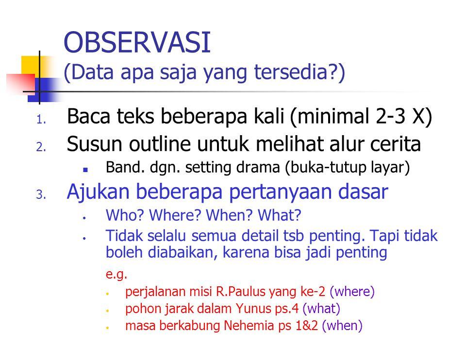 OBSERVASI (Data apa saja yang tersedia?) 1. Baca teks beberapa kali (minimal 2-3 X) 2. Susun outline untuk melihat alur cerita Band. dgn. setting dram