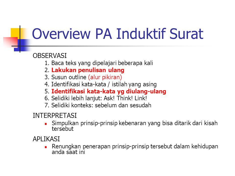 Overview PA Induktif Surat OBSERVASI 1. Baca teks yang dipelajari beberapa kali 2. Lakukan penulisan ulang 3. Susun outline (alur pikiran) 4. Identifi