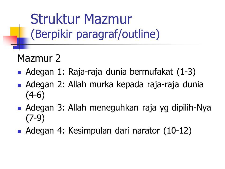 Struktur Mazmur (Berpikir paragraf/outline) Mazmur 2 Adegan 1: Raja-raja dunia bermufakat (1-3) Adegan 2: Allah murka kepada raja-raja dunia (4-6) Ade
