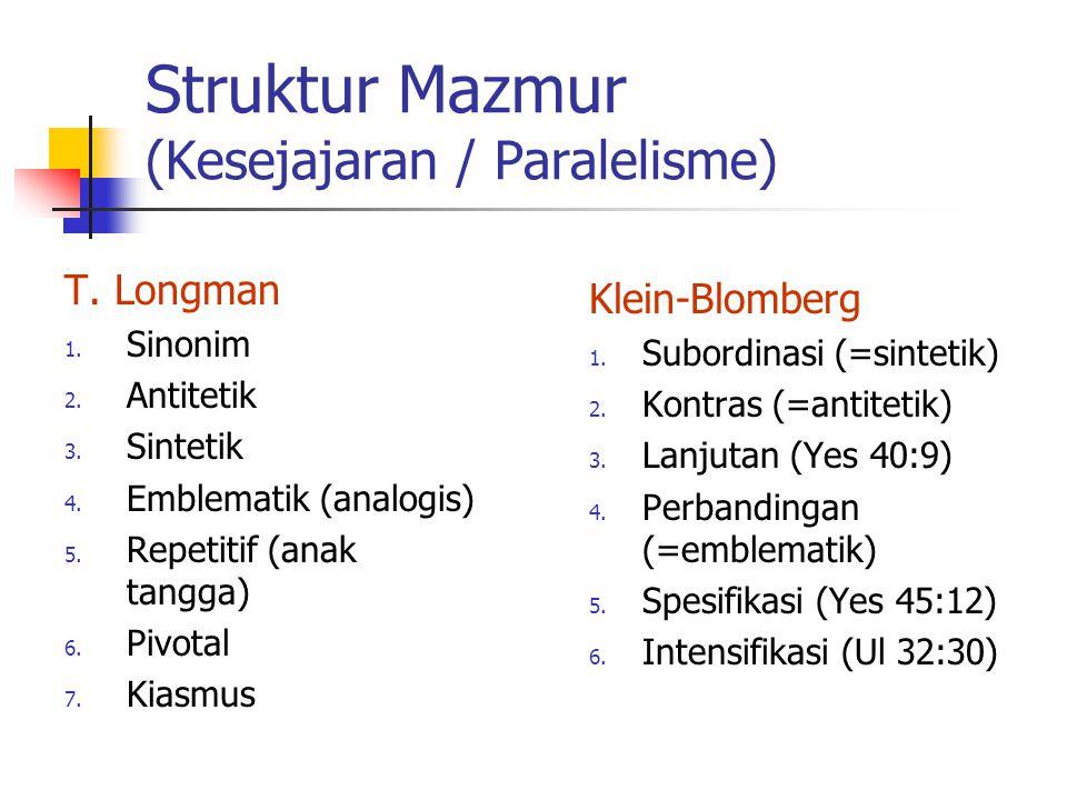 Struktur Mazmur (Kesejajaran / Paralelisme) T. Longman 1. Sinonim 2. Antitetik 3. Sintetik 4. Emblematik (analogis) 5. Repetitif (anak tangga) 6. Pivo