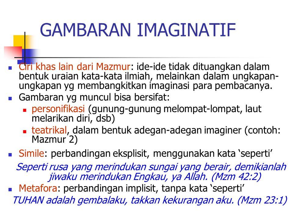 GAMBARAN IMAGINATIF Ciri khas lain dari Mazmur: ide-ide tidak dituangkan dalam bentuk uraian kata-kata ilmiah, melainkan dalam ungkapan- ungkapan yg m