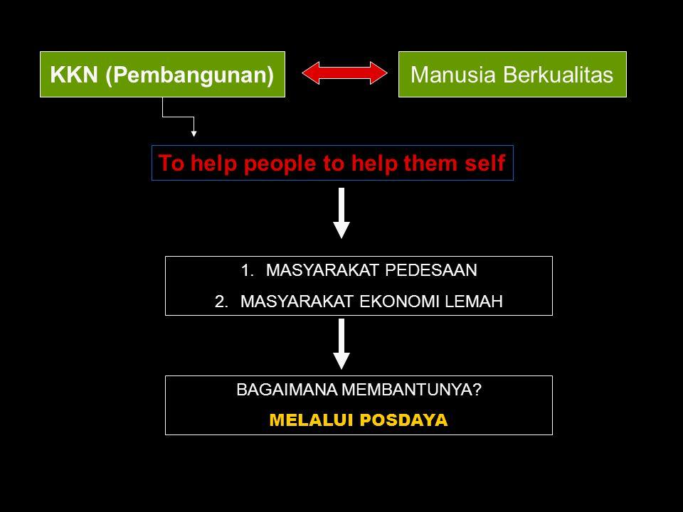 KKN (Pembangunan)Manusia Berkualitas To help people to help them self 1.MASYARAKAT PEDESAAN 2.MASYARAKAT EKONOMI LEMAH BAGAIMANA MEMBANTUNYA? MELALUI