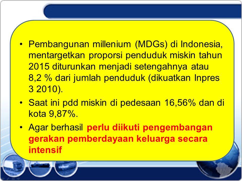Pembangunan millenium (MDGs) di Indonesia, mentargetkan proporsi penduduk miskin tahun 2015 diturunkan menjadi setengahnya atau 8,2 % dari jumlah pend